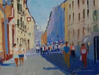 A Pastel artwork by Lyle Dayman in the Realist Impressionist style  depicting Landscape City People and Streets with main colour being Blue and Ochre and titled Corso Bosa, Italy