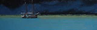 A Pastel artwork by Lyle Dayman in the Realist Impressionist style  depicting Boats with main colour being Blue and Brown and titled Lugger Broome