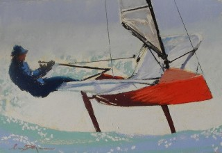 A Pastel artwork by Lyle Dayman in the Realist Impressionist style  depicting Boats with main colour being Black Blue and Red and titled The Flying Moth