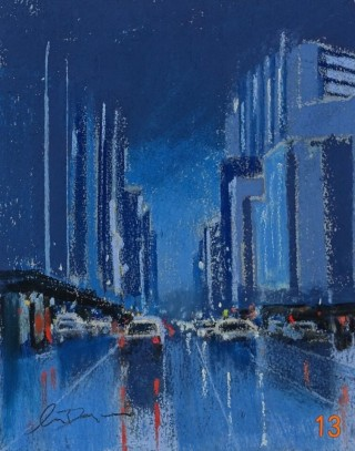 A Pastel artwork by Lyle Dayman in the Realist Impressionist style  depicting Landscape City and Night with main colour being Blue and titled The City