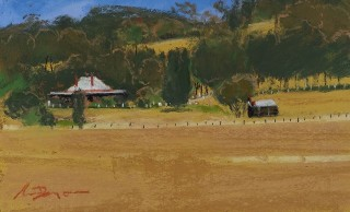 A Pastel artwork by Lyle Dayman in the Realist Impressionist style  depicting Landscape Rural with main colour being Blue Green and Ochre and titled Summer in SA