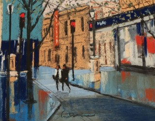A Pastel artwork by Lyle Dayman in the Realist Impressionist style  depicting Landscape City with main colour being Blue Ochre and Orange and titled Autumn in the City