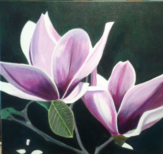 An Acrylic painting by Dawn Luttrell in the Realist style  depicting Flowers with main colour being Green Grey and Pink and titled Magnificient Magnolia