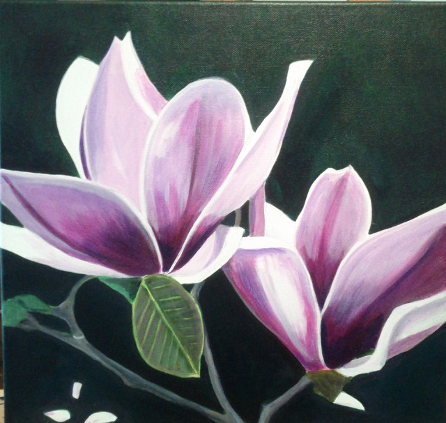 Acrylic Painting by Dawn Luttrell titled Magnificient Magnolia