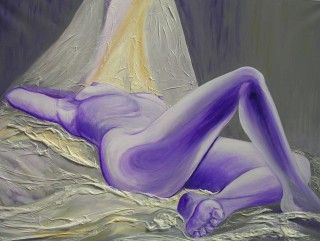 A Mixed Media artwork by Pippa Newby depicting Nude and Woman with main colour being Cream Grey and Purple and titled Purple Dreams