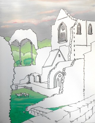 A Mixed Media artwork by Pippa Newby in the Illustrative style  depicting Landscape Buildings with main colour being Green Grey and White and titled Tintern Abbey UK