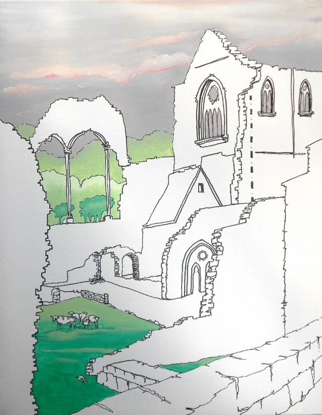 Mixed Media Painting by Pippa Newby titled Tintern Abbey UK