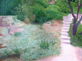 An Oil painting by Rick Matear in the Realist style  depicting Landscape Garden with main colour being Green and Pink and titled Meandering Steps at Shelly Beach