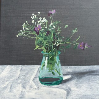 An Oil painting by Rick Matear in the Realist style  depicting Flowers and Vases with main colour being Green Grey and White and titled Just Picked