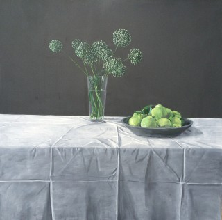 An Oil painting by Rick Matear in the Realist style  depicting Flowers and Vases with main colour being Green and Grey and titled Onion Flowers and Quinces