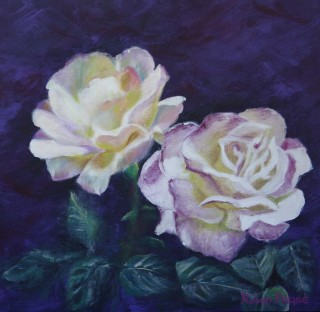 An Acrylic painting by Robyn Pryse in the Realist style  depicting Flowers with main colour being Black Cream and Pink and titled White Roses on Purple