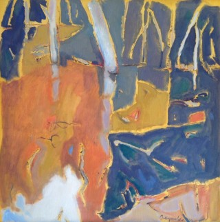 An Oil painting by Ron Reynolds in the Abstract style  depicting Landscape River and Trees with main colour being Blue Ochre and Orange and titled Bailey's Billabong Ivanhoe