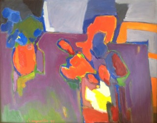 An Oil painting by Ron Reynolds in the Abstract style  depicting  with main colour being Blue Cream and Green and titled Two Vases