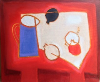 An Oil painting by Ron Reynolds in the Abstract style  depicting Still Life Fruit Jugs and Vases with main colour being Black Blue and Red and titled Jug with Pomegranates