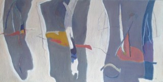 An Oil painting by Ron Reynolds in the Abstract style  depicting Landscape with main colour being Cream and Grey and titled Billabong under Winter Cloak