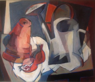 An Oil painting by Ron Reynolds in the Abstract style  depicting Still Life Fruit and Jugs with main colour being Blue Grey and Pink and titled Still Life with Watering Can