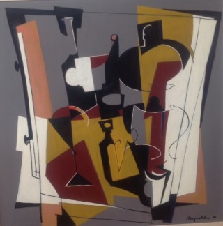 An Oil painting by Ron Reynolds in the Abstract style  depicting Still Life with main colour being Black Grey and Ochre and titled Studio Still Life