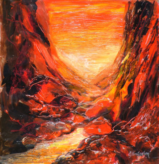 A Mixed Media painting by Ekaterina Mortensen in the Abstract style  depicting Landscape Creek Desert and Hills with main colour being Brown Orange and Red and titled Standley Chasm