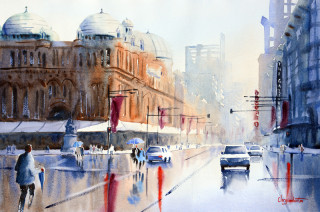 A Watercolour artwork by Chrysovalantou Mavroudis in the Realist Impressionist style  depicting Buildings People and Streets with main colour being Blue and Brown and titled Stop/Start