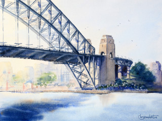A Watercolour painting by Chrysovalantou Mavroudis in the Realist Impressionist style  depicting Bridge City and Streets with main colour being Blue and Grey and titled Sydney Harbour Bridge
