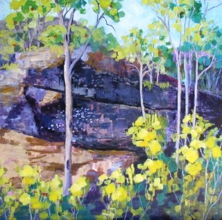 An Acrylic painting by Yvonne West in the Impressionist style  depicting Landscape Flowers Garden and Rocks with main colour being Blue Green and Pink and titled Sackville Rocks