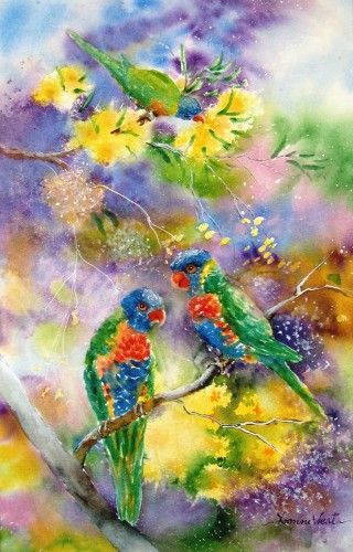 A Watercolour artwork by Yvonne West in the Realist Impressionist style  depicting Animals Birds with main colour being Blue Green and Purple and titled Rainbow Lorikeets