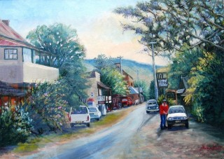 An Acrylic painting by Yvonne West in the Realist style  depicting Landscape Cars and Streets with main colour being Blue and Green and titled Main St. Sofala