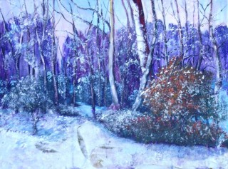 An Acrylic painting by Yvonne West in the Realist style  depicting Snow with main colour being Blue and Purple and titled First Snow