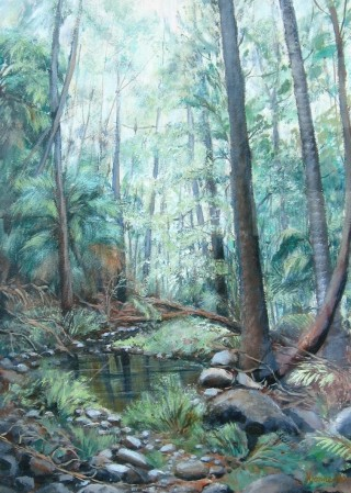 An Acrylic painting by Yvonne West in the Realist style  depicting Trees with main colour being Green and titled Misty Rainforest