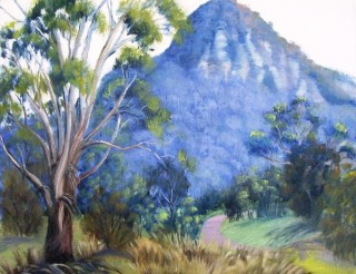 An Oil painting by Yvonne West in the Impressionist style  depicting Landscape Mountains Rural and Trees and titled Glen Davis