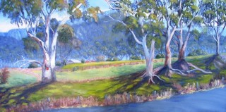 An Oil painting by Yvonne West in the Impressionist style  depicting Landscape Rural and Trees with main colour being Blue and Green and titled Megalong Valley
