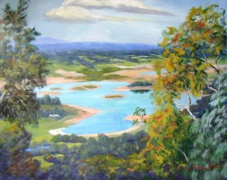 An Acrylic painting by Yvonne West in the Impressionist style  depicting Lake with main colour being Blue and Green and titled Penrith Lakes