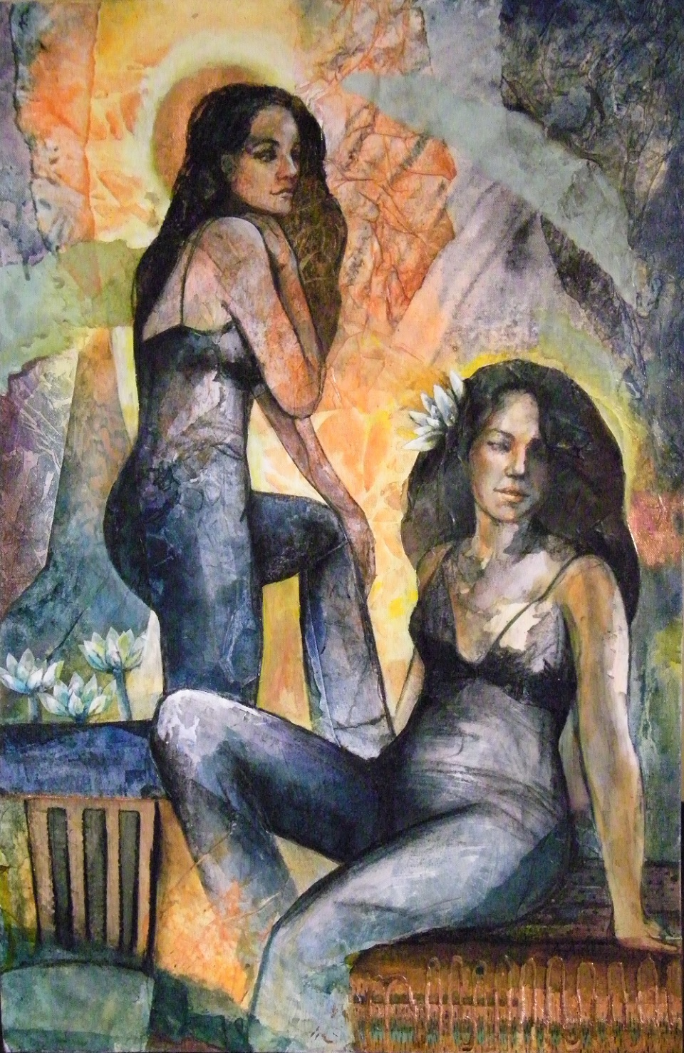 Painting by Amanda Aish titled Sisters