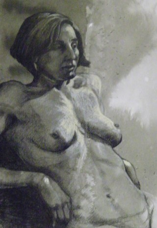 A  painting by Amanda Aish in the Realist style  depicting Nude and Woman and titled Golda