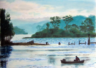 A Pastel artwork by Dane Ikin in the Realist style  depicting Landscape Boats Hills and Lake with main colour being Blue and titled Afternoon on the Lake