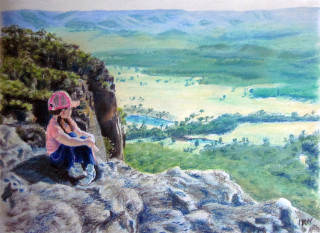 A Pastel painting by Dane Ikin in the Realist style  depicting Landscape Bush and Mountains with main colour being Green and titled Blue Mountains Overlook