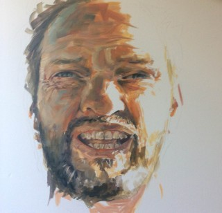 An Oil painting by Daniel Butterworth in the Impressionist style  depicting Portrait Man with main colour being Brown Green and Grey and titled Self Smiling