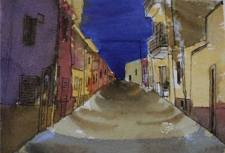 A Watercolour artwork by Kate Dayman depicting Landscape Buildings with main colour being Blue Grey and Ochre and titled Old Road at Dusk