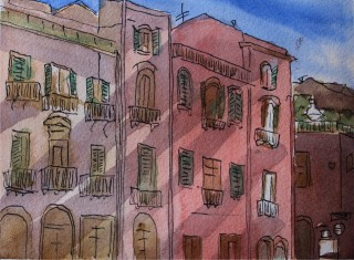 A Watercolour artwork by Kate Dayman depicting Buildings with main colour being Pink and titled Piazza, Bosa, Italy