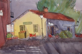 A Watercolour artwork by Kate Dayman depicting Landscape Buildings with main colour being Brown Grey and Olive and titled Old Train Station