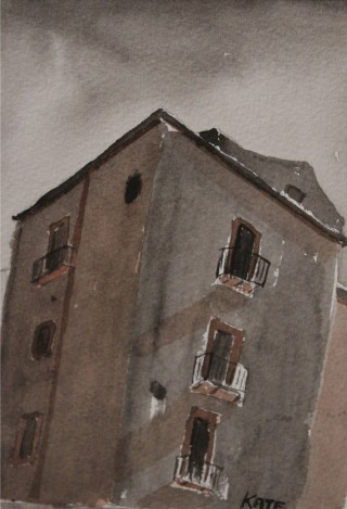 A Watercolour artwork by Kate Dayman depicting Buildings with main colour being Brown and Grey and titled Corner House, Bosa