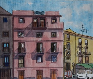 A Watercolour artwork by Kate Dayman depicting Buildings with main colour being Blue Pink and Yellow and titled Pink House in Bosa, Italy