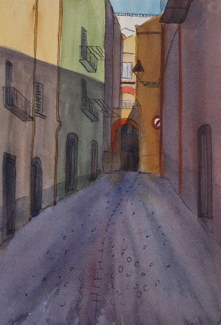 A Watercolour artwork by Kate Dayman depicting Landscape Buildings with main colour being Green Orange and Purple and titled Alley & Arches