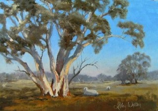 An Oil painting by Lesley Whitten in the Realist style  depicting Landscape Rural and Trees with main colour being Blue and Green and titled Rural Landscape