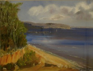 An Oil painting by Susan Lanchester in the Realist style  depicting Landscape Beach with main colour being Blue Grey and Yellow and titled Towards Portsea