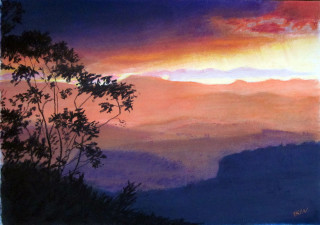 A Pastel painting by Dane Ikin in the Realist style  depicting Landscape Mountains Sunset and Trees with main colour being Orange and titled Sunset Showers