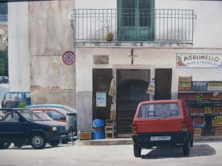 A Watercolour artwork by Nicholas Truscott in the Realist style  depicting  Buildings and Streets and titled Agrumello, Italy
