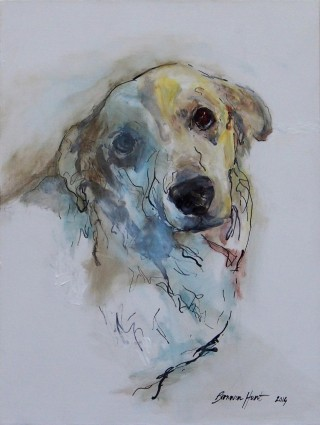 A Mixed Media artwork by Bronwen Hunt in the Realist Impressionist style  depicting Animals Dogs with main colour being Blue Brown and Cream and titled Blind-sided