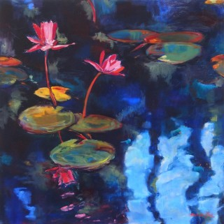 An Oil painting by Bronwen Hunt in the Realist Impressionist style  depicting Water with main colour being Blue Green and Pink and titled Lilies