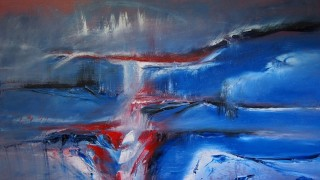 An Oil painting by Belinda Jane McDonnell in the Abstract style  depicting Landscape with main colour being Blue Red and White and titled What lies beneath